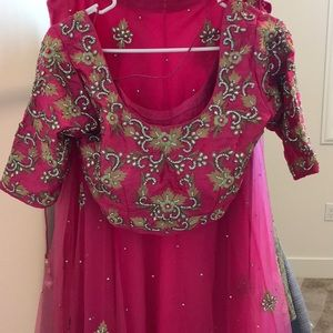 Mehndi lehenga pink and green